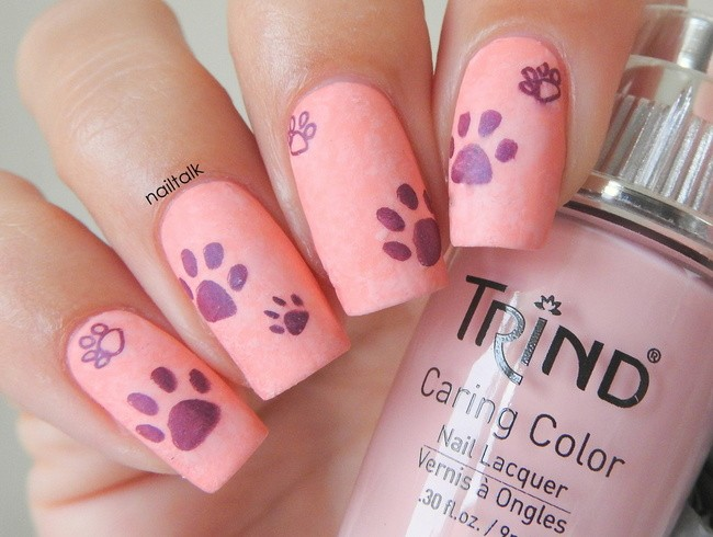 purple paws nail art