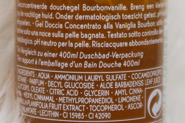 yves rocher bourbonvanille geconcentreerde douchegel ingredienten
