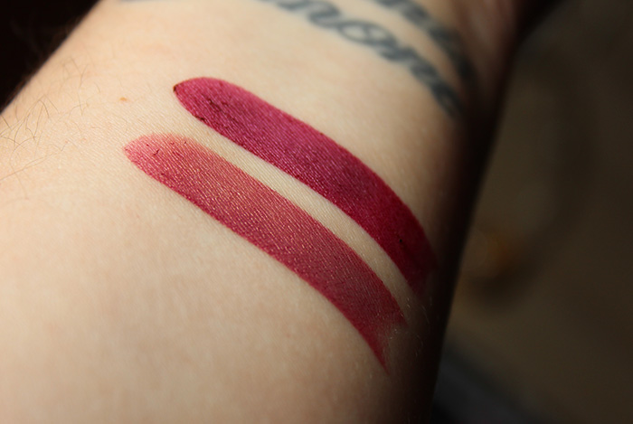 essence fancy blush & burgundy spirit lipstick swatches