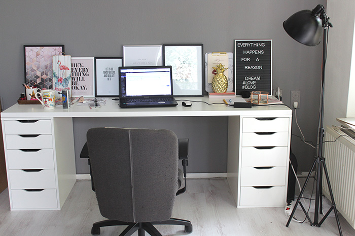 werkplek in mijn nieuwe huis met ikea bureau en alex kastjes. Black Bedroom Furniture Sets. Home Design Ideas