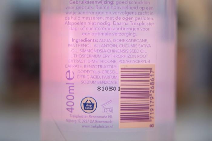 trekpleister micellair water waterproof gebruiksaanwijzing en ingredienten