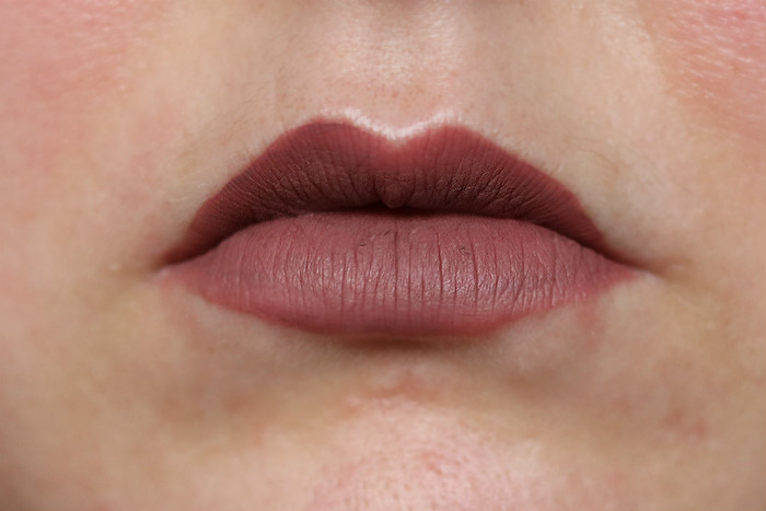 karl lagerfeld liquid lipstick modern muse swatch close up