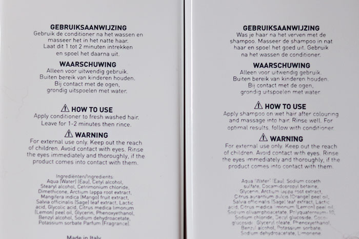 wecolour shampoo, conditioner en argan silk ingredienten