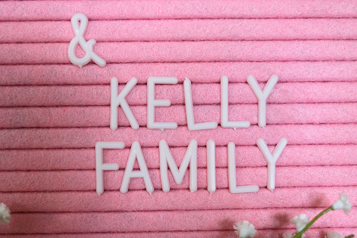 roze vilten letterboard quote